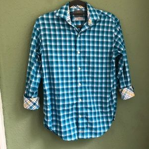 TD Thomas Dean Checkered Button Down Shirt Size 8